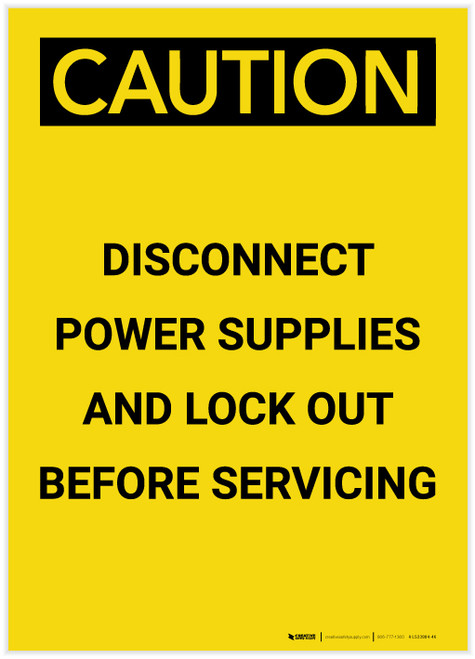 Caution: Disconnect Power and Lock Out Before Servicing Portrait - Label
