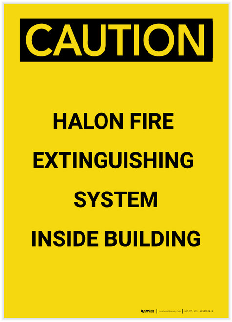 Caution: Emergency Halon Fire Extinguisher Portrait - Label
