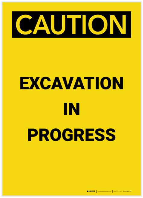 Caution: Excavation In Progress Portrait - Label