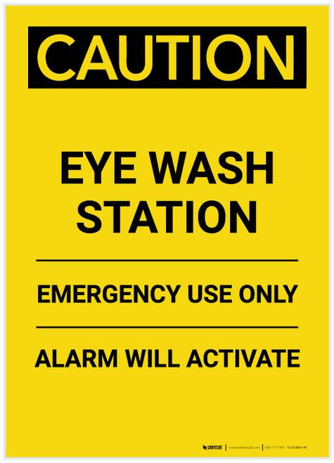 Caution: Eye Wash Station Portrait - Label