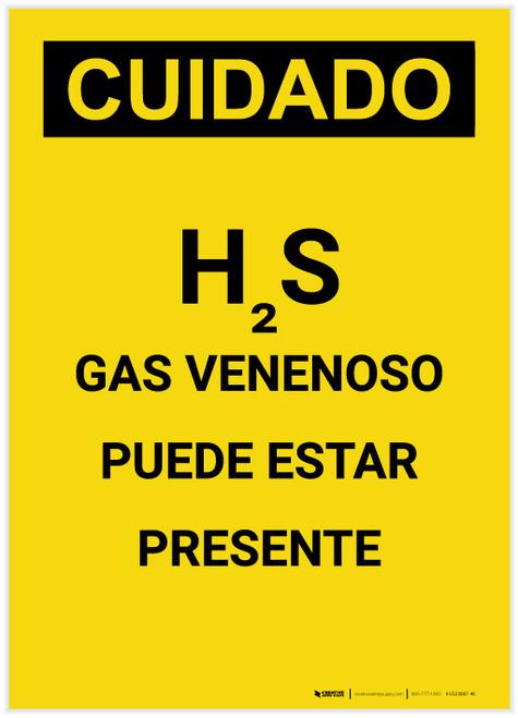 Caution: H2S Poisonous Gas May Be Present Spanish Portrait - Label