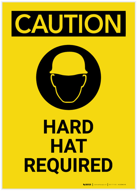 Caution: Hard Hat Required with Graphic Portrait - Label