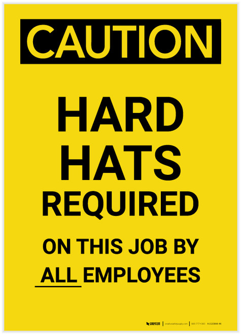 Caution: Hard Hats Required by Employees Portrait - Label