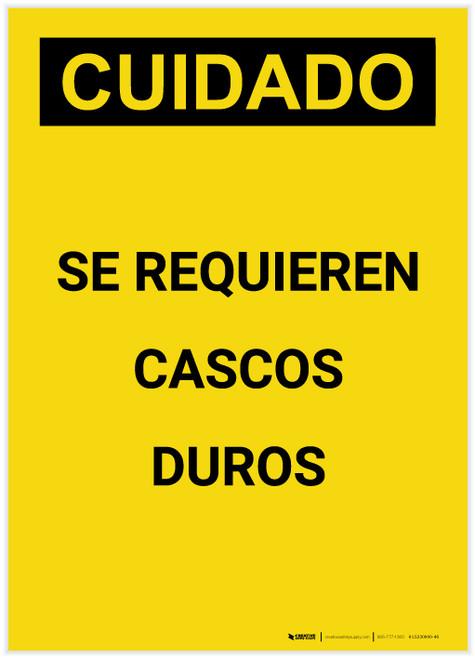 Caution: Hard Hats Required Spanish Portrait - Label