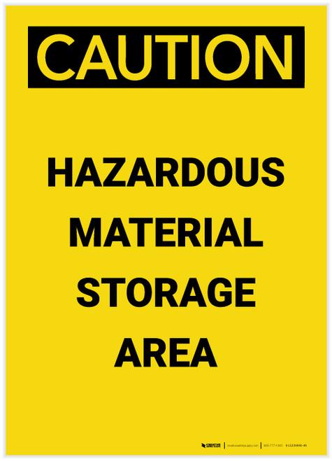 Caution: Hazardous Material Storage Area Portrait - Label