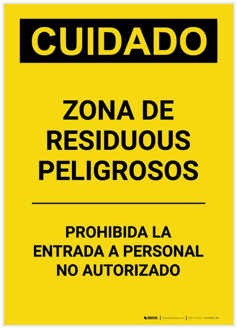 Caution: Hazardous Waste Area Keep Out Spanish Portrait - Label