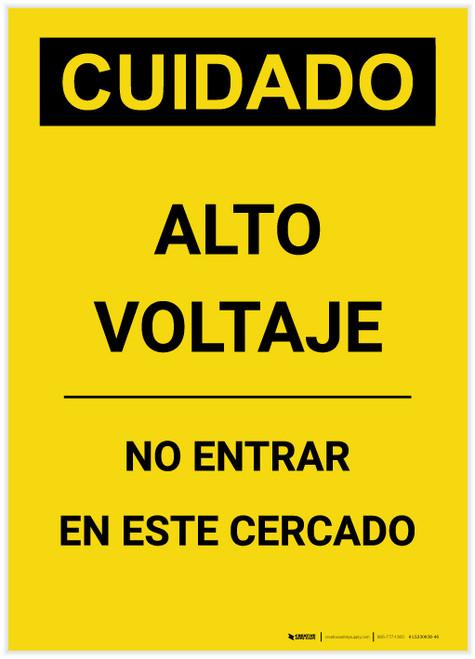 Caution: High Voltage Do Not Enter Enclosure Spanish Portrait - Label