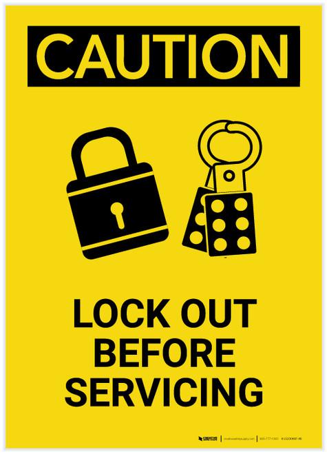 Caution: Lock Out Before Servicing Portrait - Label