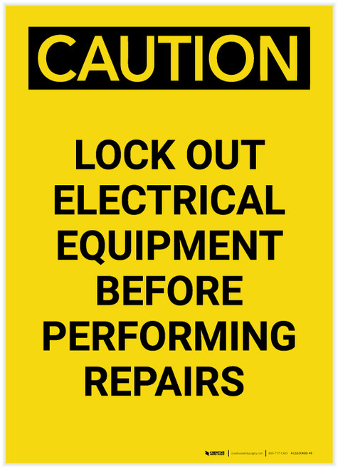 Caution: Lock Out Electrical Equipment Before Repairs Portrait - Label