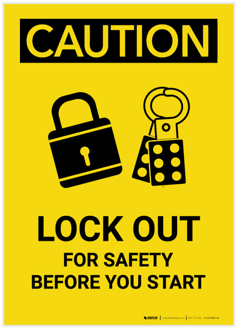 Caution: Lock Out For Safety Before You Start with Graphic Portrait - Label