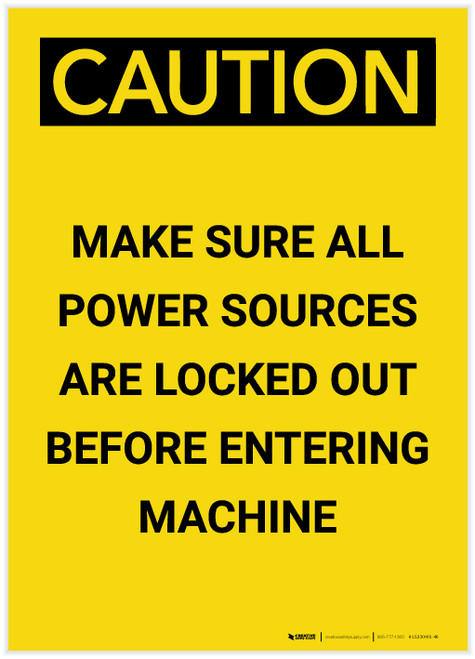 Caution: Make Sure All Power Sources are locked Out Portrait - Label