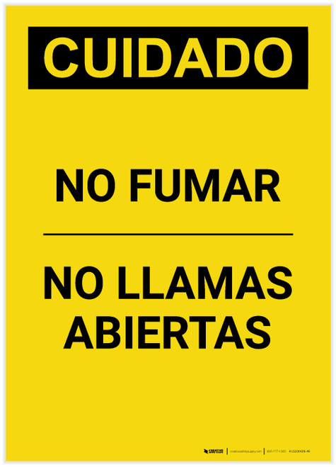 Caution: No Smoking No Open Flames Spanish Portrait - Label