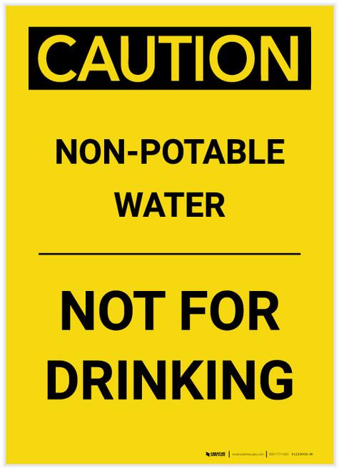 Caution: Non Potable Water Not For Drinking Portrait - Label