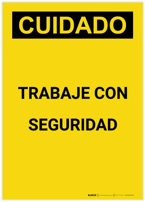 Caution: Work Safely Spanish Portrait - Label