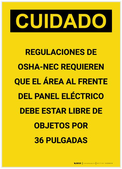 Caution: OSHA NEC Regulations Requires Spanish Portrait - Label