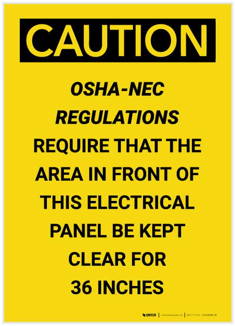 Caution: OSHA NEC Require Electrical Panel Kept Clear 36 Inches Portrait - Label