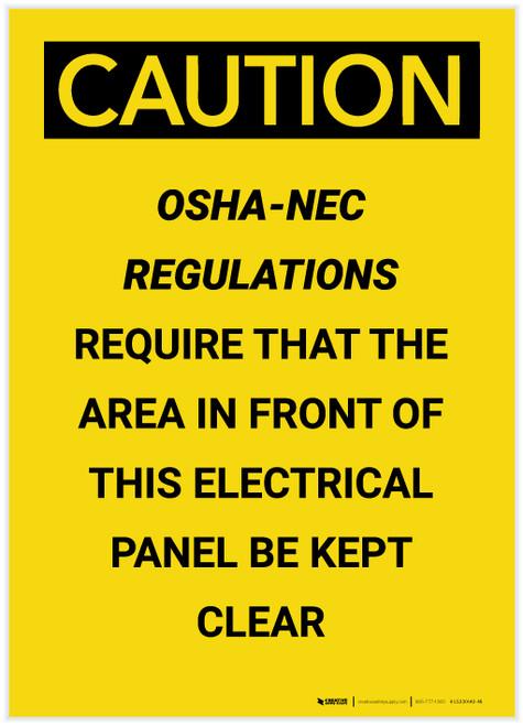 Caution: OSHA NEC Require Electrical Panel Kept Clear Portrait - Label