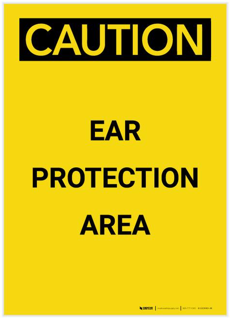 Caution: PPE Ear Protection Area Portrait - Label