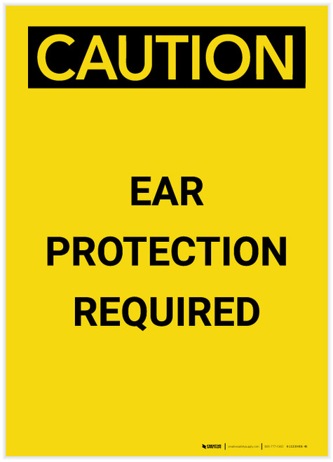 Caution: PPE Ear Protection Required Portrait - Label
