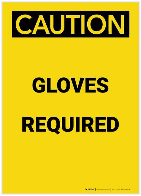 Caution: PPE Gloves Required Portrait - Label