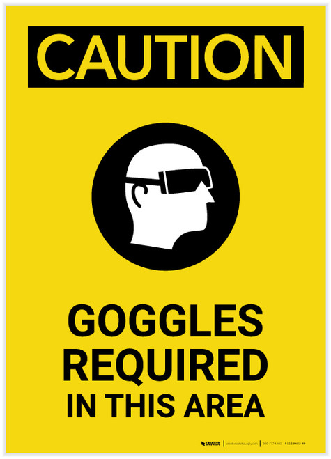 Caution: PPE Goggles Required in This Area With Graphic Portrait - Label