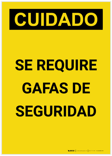 Caution: Safety Glasses Required Spanish Portrait - Label