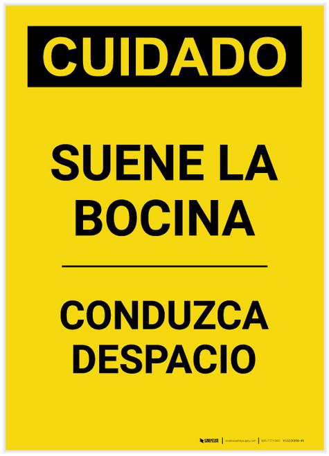 Caution: Sound Horn Spanish Portrait - Label