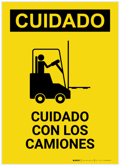 Caution: Watch For Lift Trucks Spanish Portrait - Label