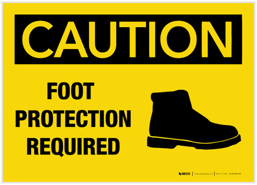 Caution: Foot Protection Required - Label