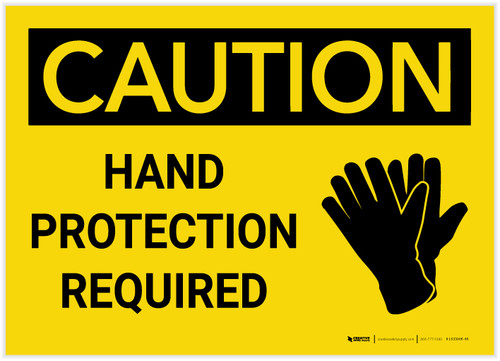 Caution: Hand Protection Required - Label