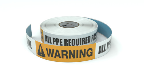 Warning: All PPE Required Past This Line - Inline Printed Floor Marking Tape