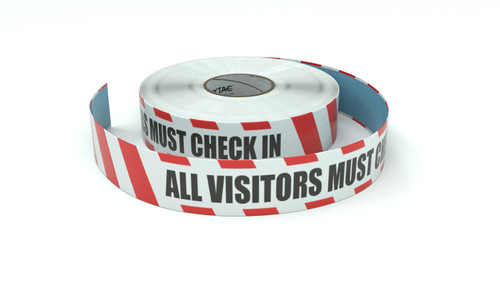 Restricted Area: All Visitors Must Check In - Inline Printed Floor Marking Tape