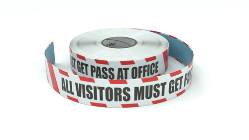 Restricted Area: All Visitors Must Get Pass At Office - Inline Printed Floor Marking Tape