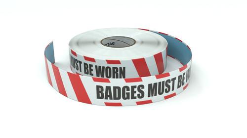 Restricted Area: Badges Must Be Worn - Inline Printed Floor Marking Tape
