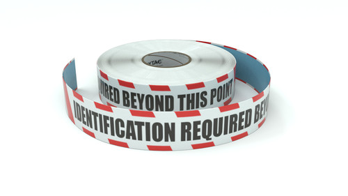 Restricted Area: Identification Required Beyond This Point - Inline Printed Floor Marking Tape