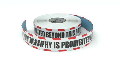 Restricted Area: Photography Is Prohibited Beyond This Point - Inline Printed Floor Marking Tape