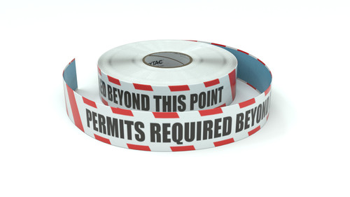 Restricted Area: Permits Required Beyond This Point - Inline Printed Floor Marking Tape