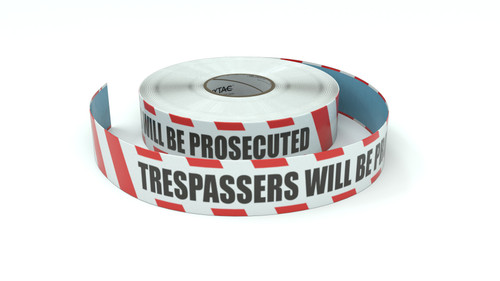Restricted Area: Trespassers Will Be Prosecuted - Inline Printed Floor Marking Tape