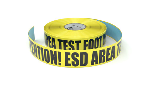 ESD: Attention! ESD Area Test Footwear - Inline Printed Floor Marking Tape