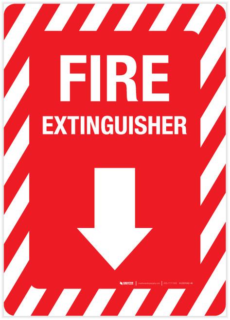Fire Extinguisher Arrow Down - Label