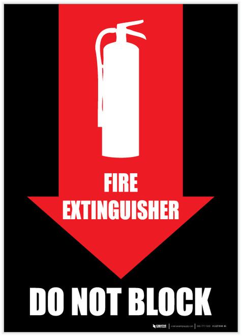Fire Extinguisher Do Not Block - Arrow Down - Label