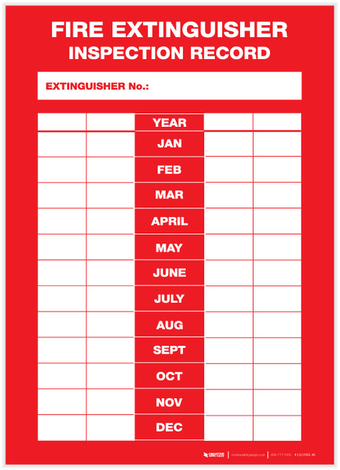 Fire Extinguisher Inspection Record - Label