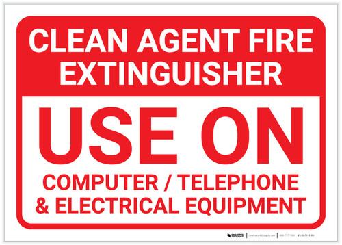 Clean Agent Fire Extinguisher Landscape - Label