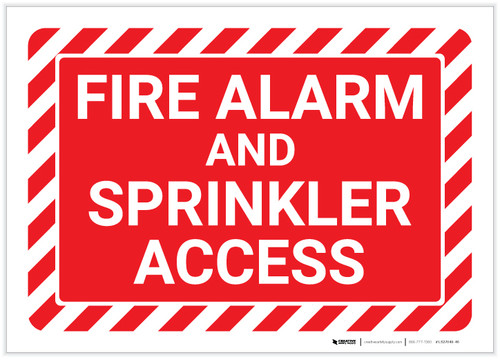 Fire Alarm And Sprinkler Access with Hazard Border Landscape - Label