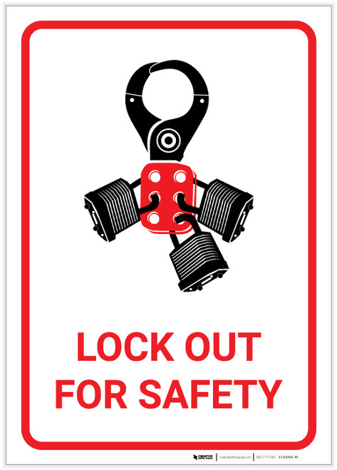 Lock Out for Safety with Graphic - Label