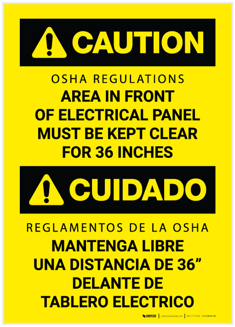 Caution: OSHA Regulations - Electrical Panel Must be Clear for 36in Bilingual Spanish - Label