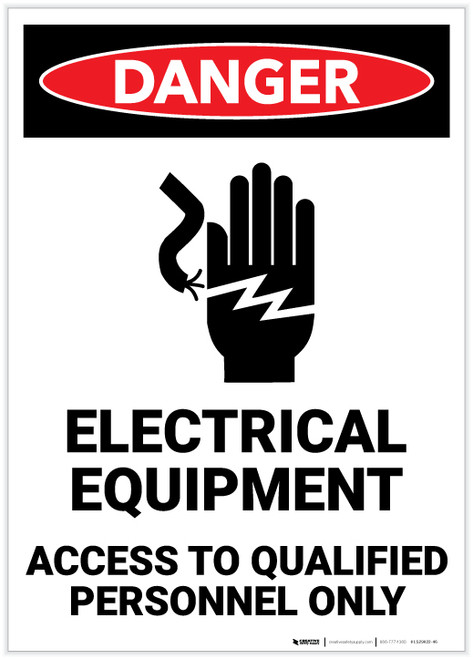 Danger: Electrical Equipment - Access to Qualified Personnel Only with Icon - Label