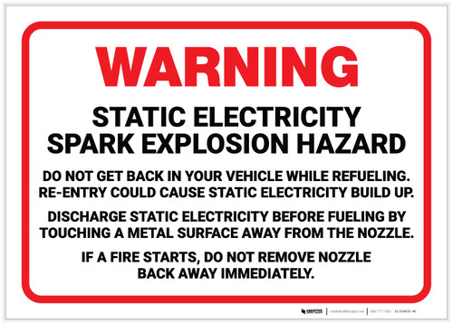 Warning: Static Electricity Spark Explosion Hazard - Label