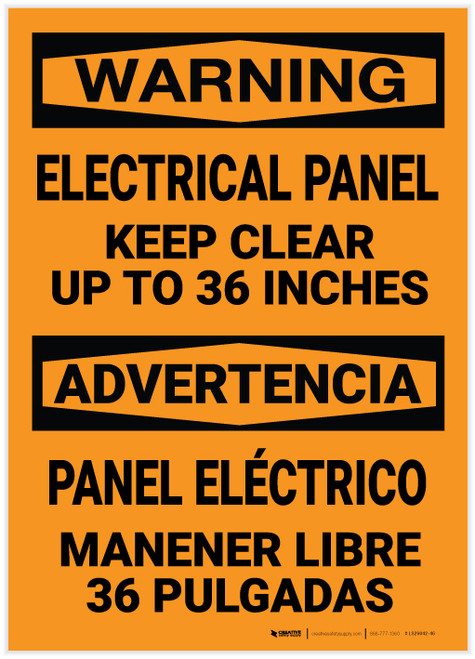 Warning: Electrical Panel Keep Clear Bilingual Spanish - Label