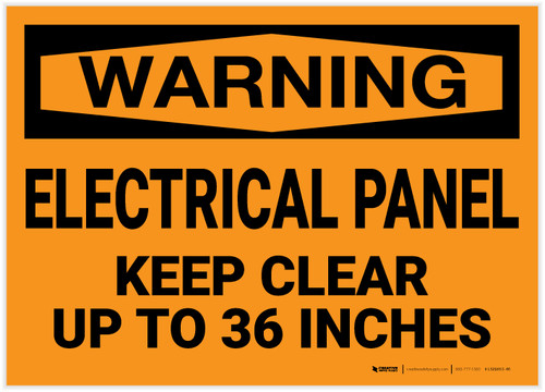 Warning: Electrical Panel - Keep Clear up to 36 Inches - Label